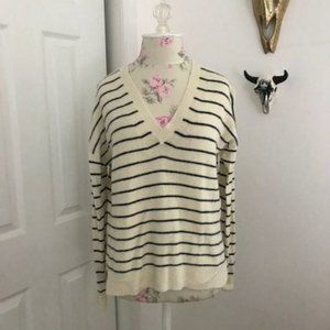 J.Crew Tan & Navy V-Neck Striped Wool Sweater